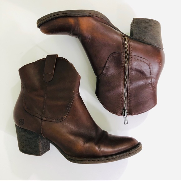 Born Shoes - Born Brown Leather Ankle Boots Heeled Booties